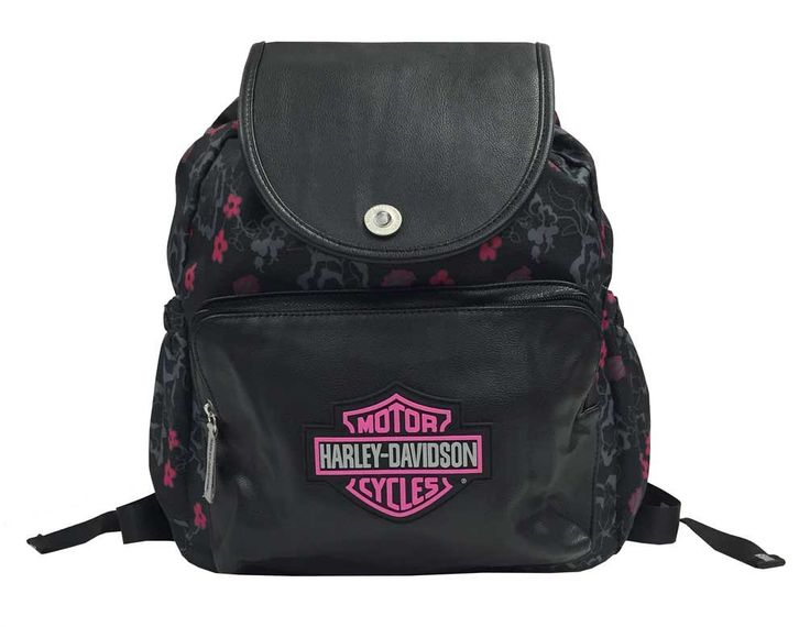 Harley-Davidson Girls' Bar & Shield Cinch Top Flowered Backpack, Black 7130515. Cinch top backpack. Reflective paint. Nylon material with floral print. Faux leather / rhinestone button. Side pockets.