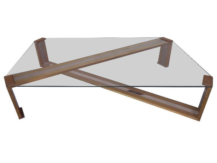 Table basse design or et chrome 1970 le vintage for Table basse molteni