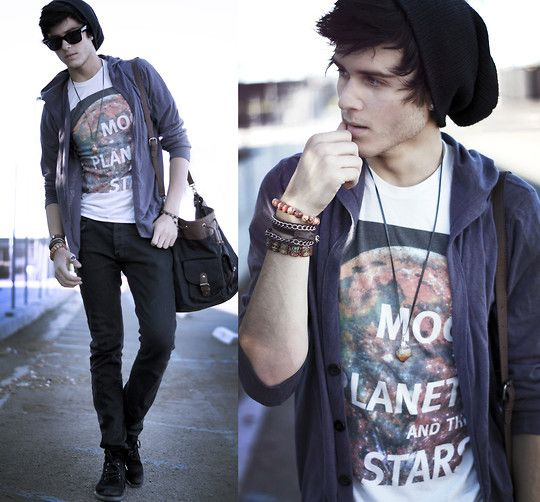 Beanie, galaxy tee, man satchel.