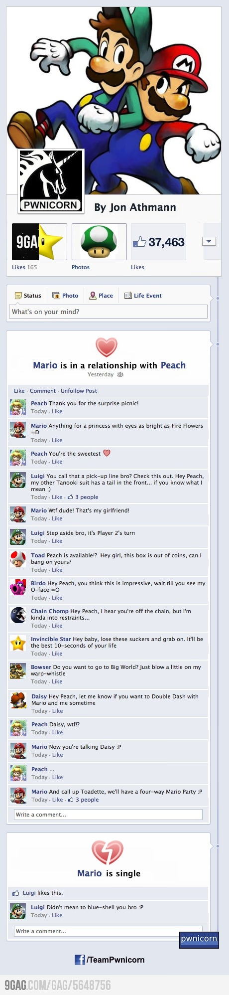 I knew it ! Peach is a bitch ! Mario, Luigi, Peach et la team #Mariokart sur Facebook :) #gaming