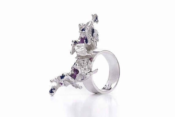 Salt cast silver ring
