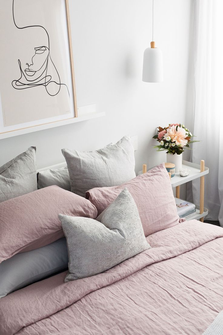 blush pink linen bedding  pink bedroom decor bedroom