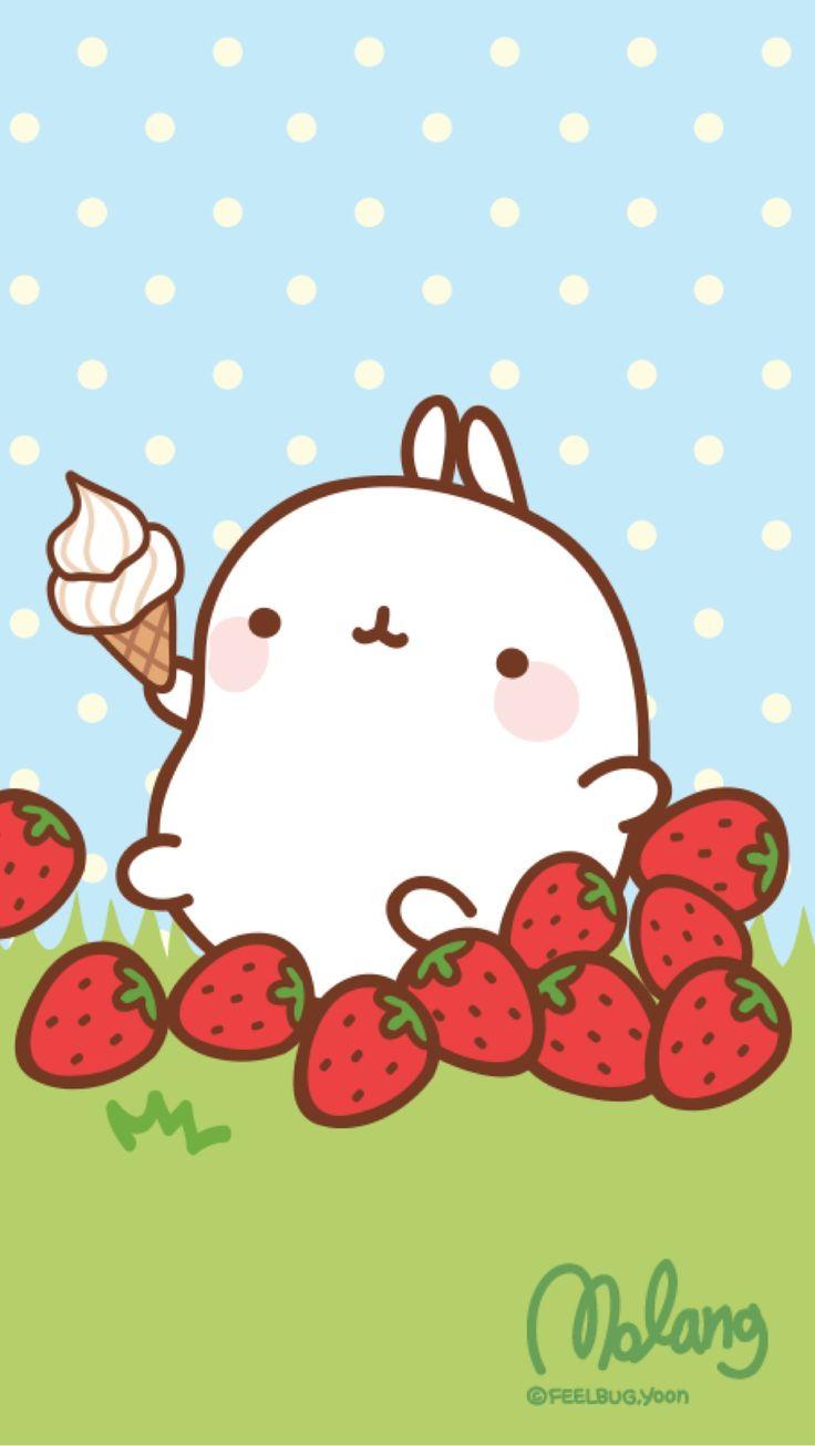 Molang Strawberry Lock Screen Kawaii Cute Pinterest
