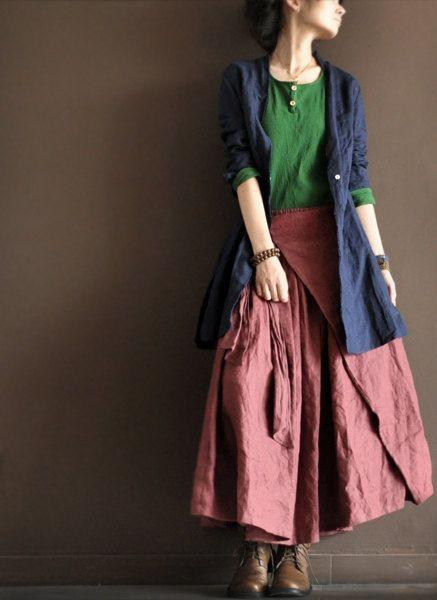 dark pink linen wrap skirt
