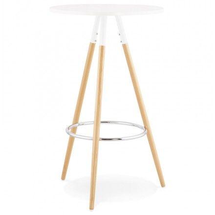 Table haute ronde scandinave JULIE en bois (Ø 65 cm) (blanc, naturel)