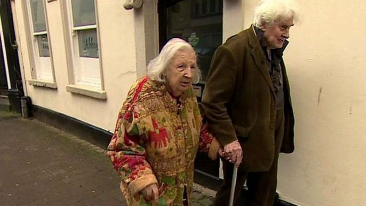 """Couple who met over a bin finally marry in their 80s.     Joan Neininger and Ken Selway, who are both in their 80s, met back in 1975 in Gloucester city centre. Ken was homeless at the time and met Joan while he was rifling through a bin.  After decades of as they say, """"ups and downs"""", the couple are to wed on Saturday. Jon Kay went to meet them."""