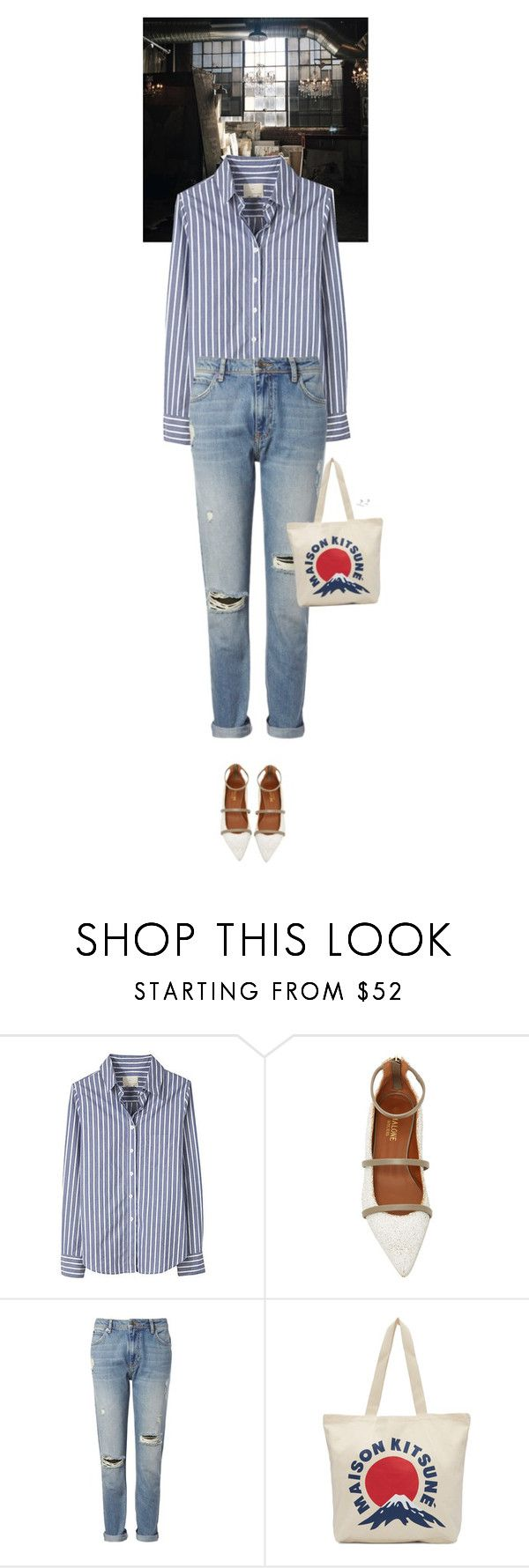 """""""Outfit of the Day"""" by wizmurphy ❤ liked on Polyvore featuring Band of Outsiders, Malone Souliers, Whistles, Maison Kitsuné, stripes and ootd"""