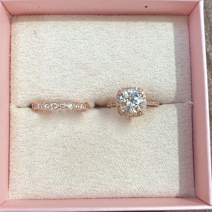 14K Rose Gold Cushion Cut Moissanite Engagement Ring – Old Time Sparkle. But with a white gold band!