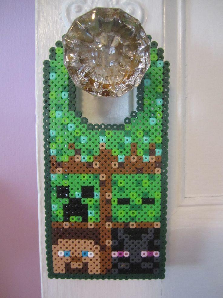 Minecraft Door Hanger Perler Beads by Angela Albergo