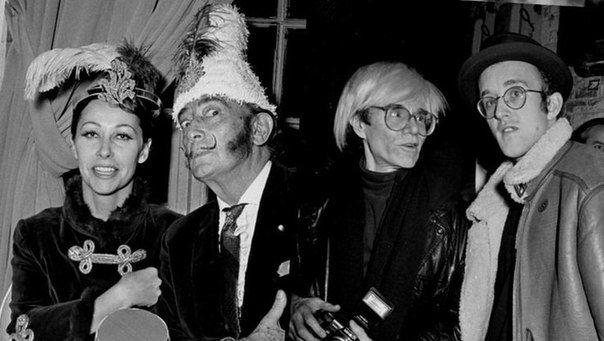 Изабель Дюфрен, Сальвадор Дали, Энди Уорхол и Кит Харинг. Нью-Йорк, 1980-е
