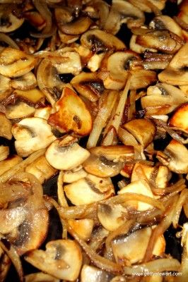 Sauteed mushrooms and onions. Quick and easy side dish.
