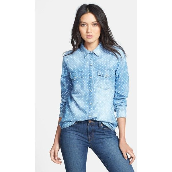Hinge Dot Chambray Shirt ($41) ❤ liked on Polyvore featuring tops, shirts, faded shirt, vintage chambray shirt, blue chambray top, vintage shirts and blue chambray shirt