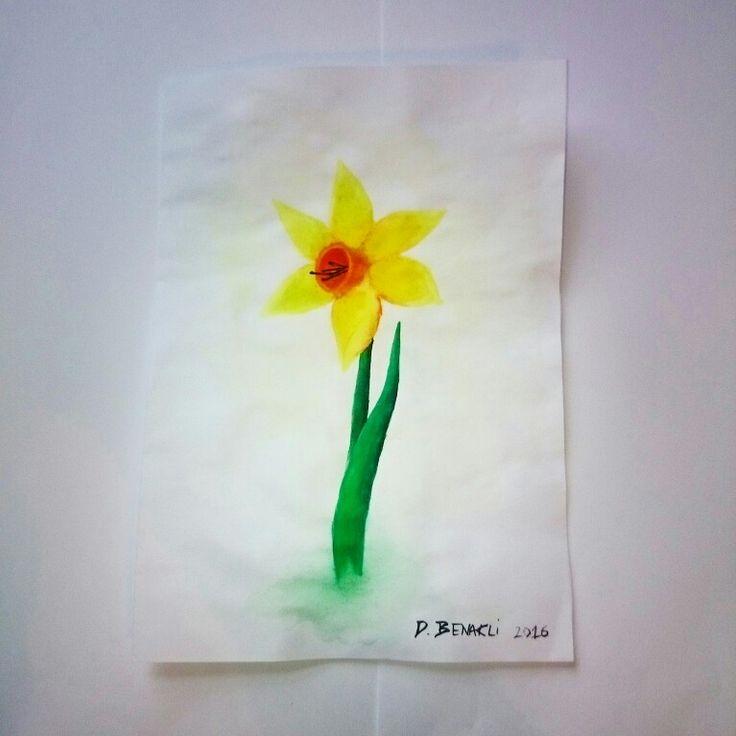 Watercolour daffodil practice