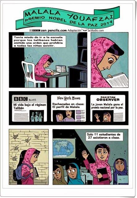 Con motivo de la celebración Día Mundial de la Educación, el día 1 de abril, pocos alegatos en favor de la educación, de su importancia y de la necesidad de su generalización y mejora, existen mejores que el del ejemplo y de la vida de Malala Youafzai, premio Nobel de la Paz 2014. Este cómic, de actiludis.com, es sencillo y, a la vez, profundo, por lo que puede servir como motivo de debate por los alumnos más pequeños y más mayores.