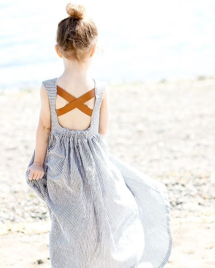 leather and seersucker dress for little girls with open back