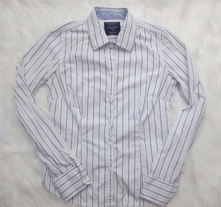 American Eagle Shirt Large White Blue Long Sleeve Button Down Stripe Womens Tops #AmericanEagleOutfitters #ButtonDownShirt #Career