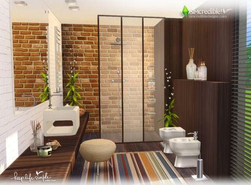 Einfaches Badezimmer, Spiegel, Teppiche, Die Sims, Sims 4, Leben,  Toiletten, Waschbecken, Pflanzen