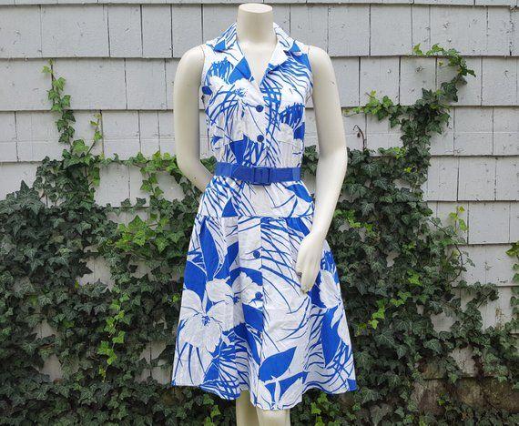 Vintage 1980s Blue Belted Midi Dress