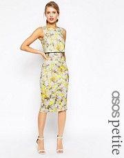 ASOS PETITE Neon Yellow Crop Top Pencil Dress - Yellow image