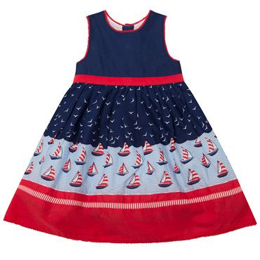 JoJo Maman Bébé Girls Navy / Blue / Red Sleeveless Nautical Party Dress