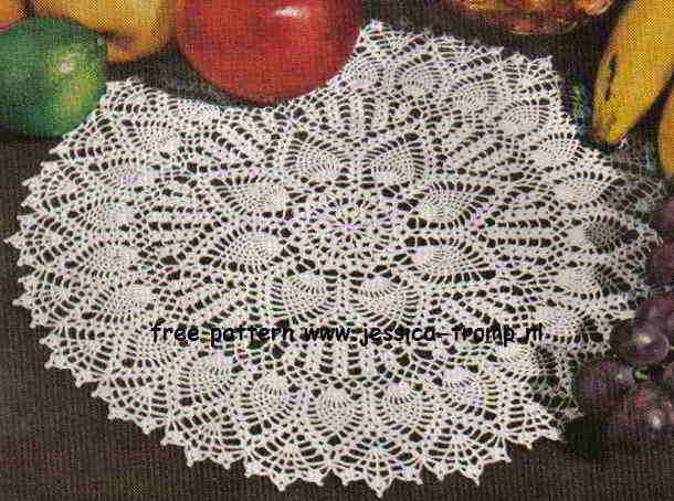 Double Pineapple Doily  	  Sparkling White Doilies  Star Doily Book No. 91  The American Yarn Company  1952