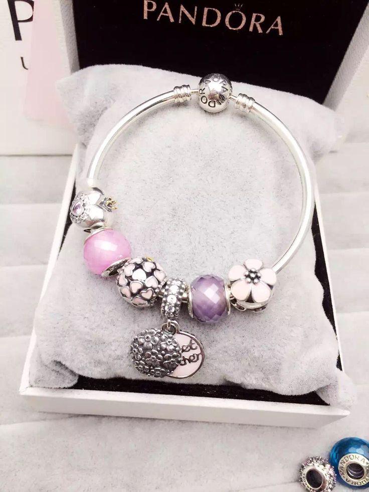 50% OFF!!! $179 Pandora Bangle Charm Bracelet Pink Purple. Hot Sale!!! SKU: CB01574 - PANDORA Bracelet Ideas