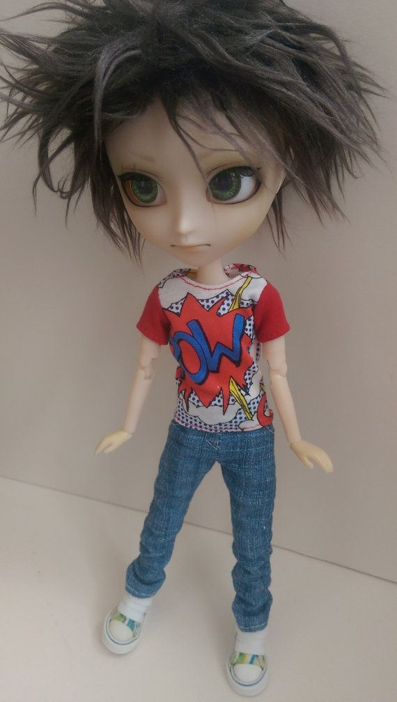 White Isul Comic 'Pow!' T-shirt with red sleeves
