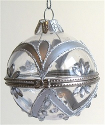 Ball shaped box Christmas ornament is made of clear glass, decorated with silver color, glitter and crystals.