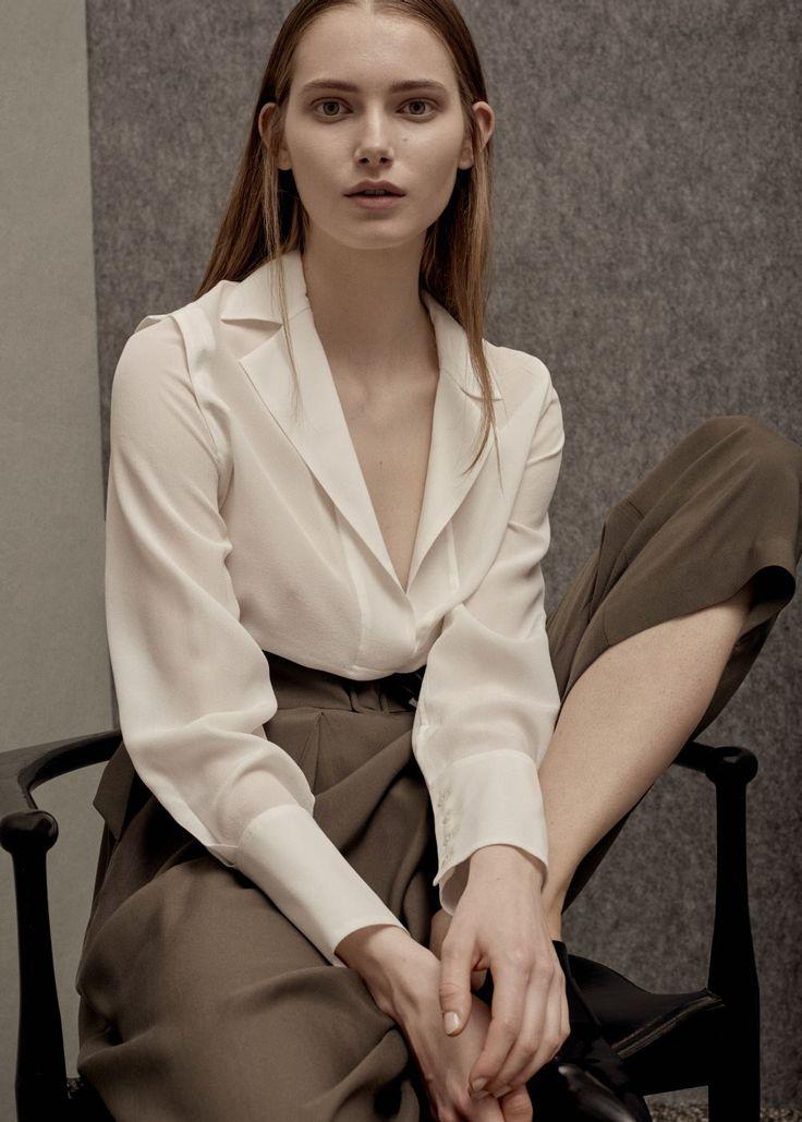 PREMIUM - Zijden blouse met revers