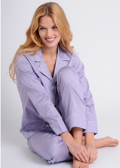 Women's Egyptian Cotton Pajamas- Wisteria $178 #cottonpajamas #olist #madeintheusa #bestpajamas #luxurypajamas #pajamas
