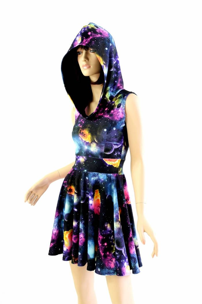 Pocket Hoodie Skater Dress in UV Glow Galaxy Print w/Black Zen Hood Liner Lycra Spandex Clubwear Festival Rave 154479 by CoquetryClothing on Etsy https://www.etsy.com/listing/223397263/pocket-hoodie-skater-dress-in-uv-glow