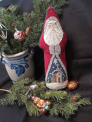 Primitive Punch Needle Christmas Santa with Country Church, Belsnickle Doll