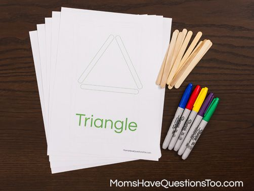 Popsicle Stick Shapes Activity - Teaching Shapes - Moms Have Questions Too. I printed these out for my three year old and he loved building the shapes.