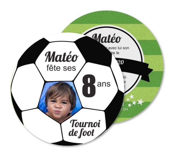 Carte invitation anniversaire Tournoi de foot ballon de sport (RO1-297)