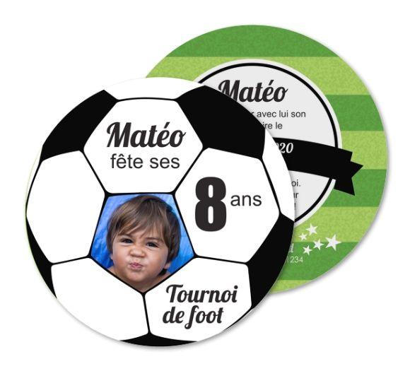 Carte invitation anniversaire Tournoi de foot ballon de sport (RO1-297)