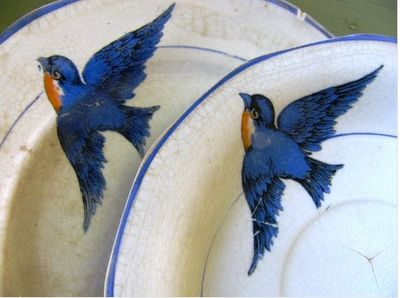 Bluebird Plates(would love to find these): Summertime Cottages, Little Girls, White Plates, Dishes, Vintage Bluebirds, Bluebirds China, Blue Birds, Art Deco, Bluebirds Plates