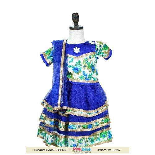 Designer Blue Kids Ethnic Lehnga Choli for Little - Chaniya Choli for Navratri with free Worldwide Shipping #UK #USA #Canada #Australia #Mauritius #Japan #Fiji #NewZealand #Malaysia #HongKong #Germany #Denmark #France #Ireland #Singapore #California #NewYorkCity #LosAngeles