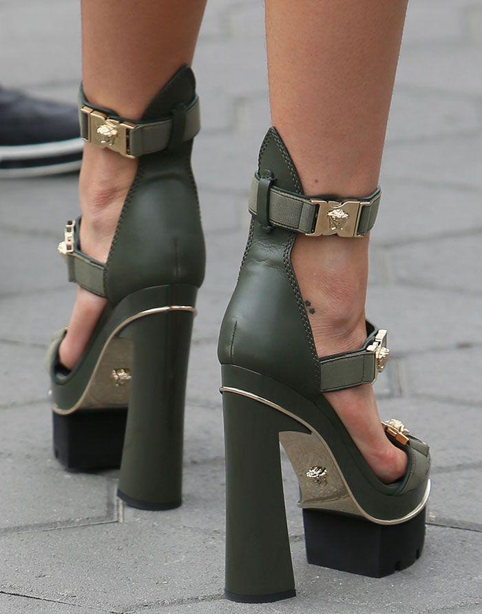 Bella Thorne Promotes #LoveYourNature in Versace Skyscraper Heels