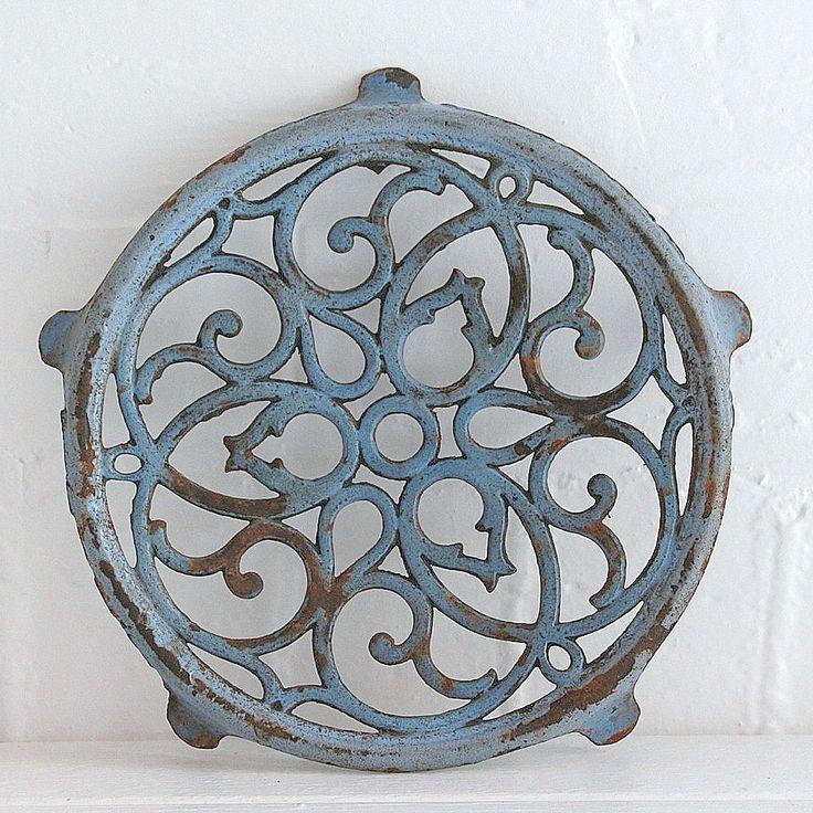 French blue cast iron enamel trivet-bayside vintage