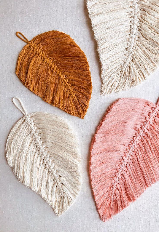 DIY Macrame Feathers Magnifique macramé de feuilles #macrame #feuille #feather …