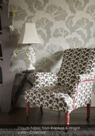 Clouds fabric by rapture and wright and cloud bay pali wallpaper