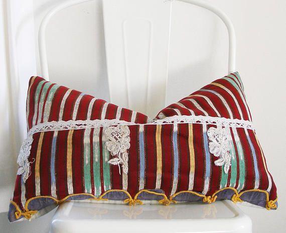Guatemalan Decorative Throw Pillow 11x21 Antique Etsy Throw Pillows Decorative Throw Pillows Vintage Textiles