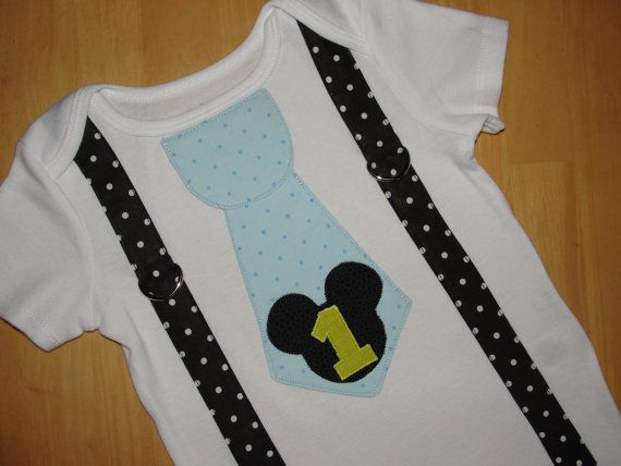 Baby Mickey Mouse 1st Birthday Tie and Suspenders Onesie for Baby Boy