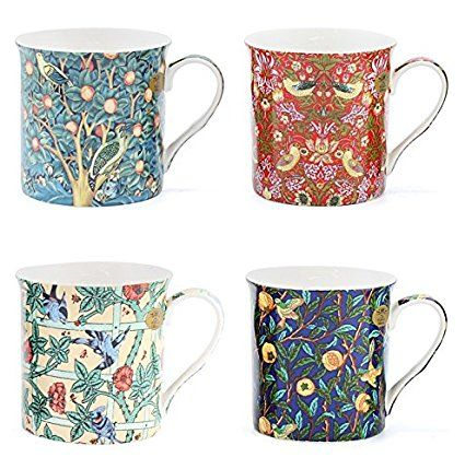 William Morris Birds Mug Set - Tea / Coffee Cup Set of 4 Gift Boxed