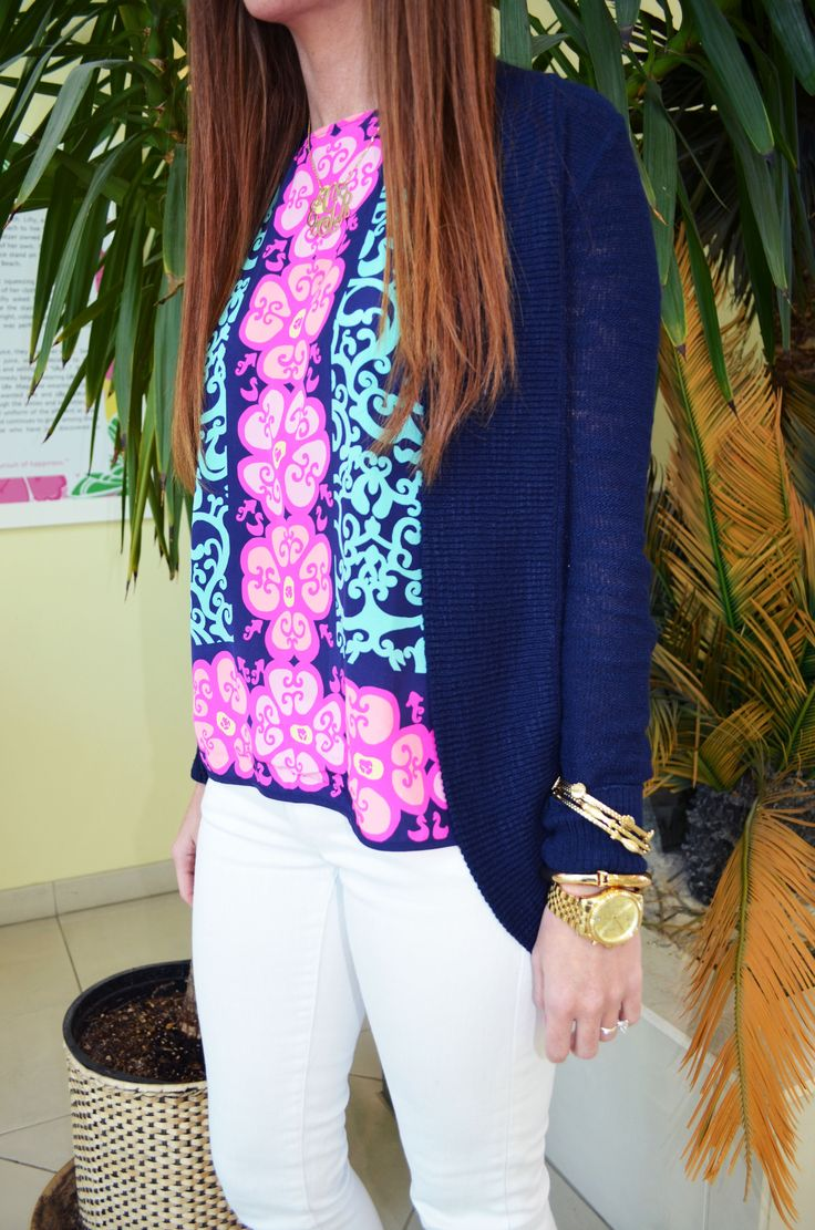 Lilly Pulitzer Iona Shell Top, Amalie Open Front Cardigan & Worth Skinny in Resort White