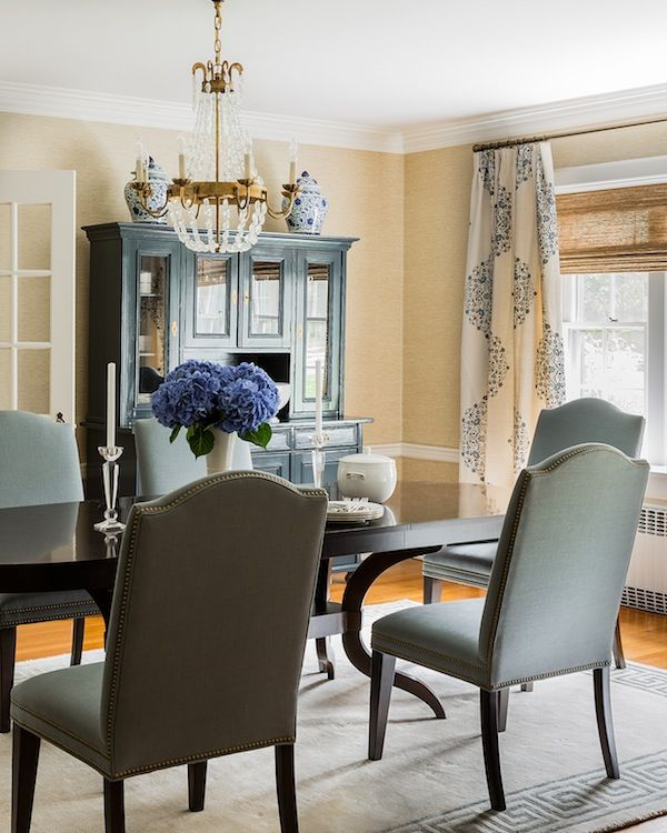 Sophisticated Dining Room Features Gold Grasscloth Wallpaper Accented With Chair Rail Framing Erin Gates Design