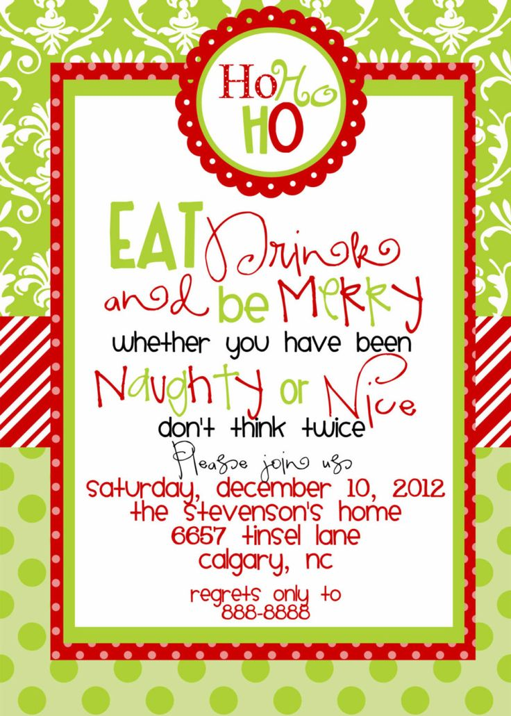 The 25+ best Christmas party invitation wording ideas on Pinterest ...