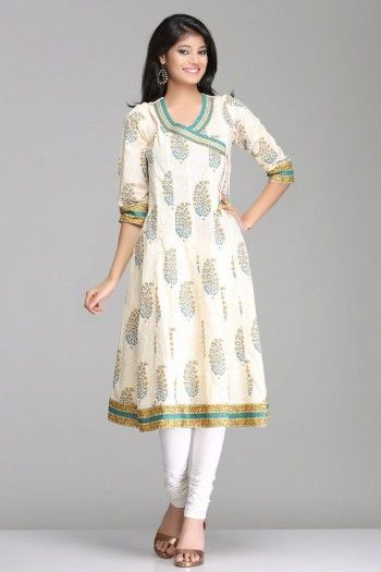 Elegant Ivory Angrakha Style Anarkali Cotton Kurta With Floral Motifs By Farida Gupta