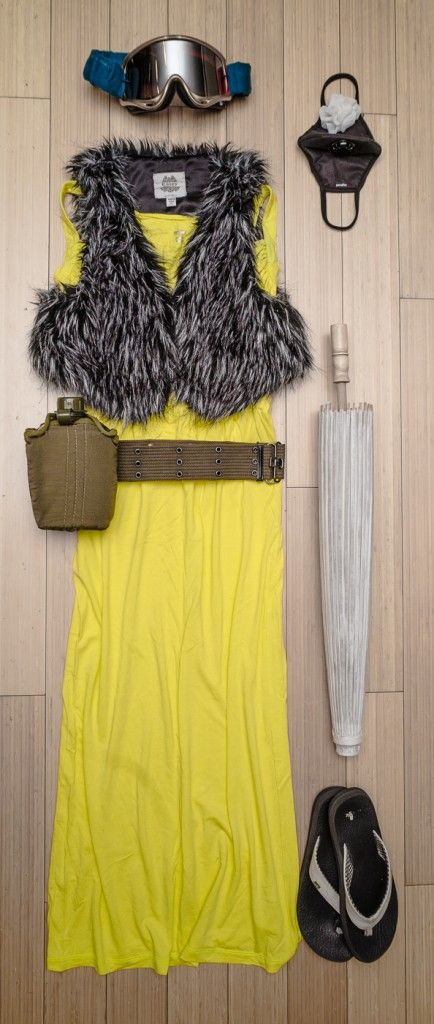 This picture shows how easy it is to have a great outfit at the burn. (It may be too hot during the day to wear a fur vest.) Add some matching accessories like a flourescent yellow  hat and you're good to go.