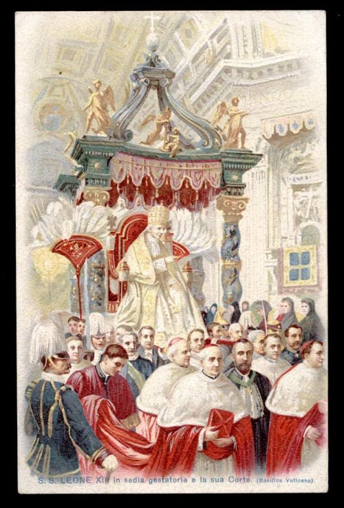 theraccolta:  Pope Leo XIII on the sedia gestatoria amongst the papal court